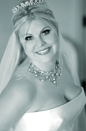 Black and white photo of necklace and tiara
