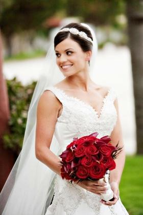Bride in sparkling wedding dress and headpiece