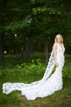 Wedding dress by marchesa flower applique mermaid silhouette train long cathedral cape instead veil