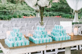 personalized candies favors gifts guests tiffany blue boxes ribbon southern wedding classic love