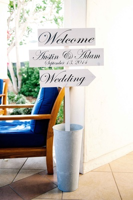 Wedding three part welcoming sign with bride and groom's name and wedding date