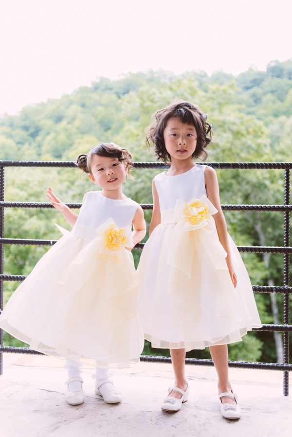 Flower girls ring bearers photos white and yellow flower girl chinese flower girls in tea length gowns mightylinksfo