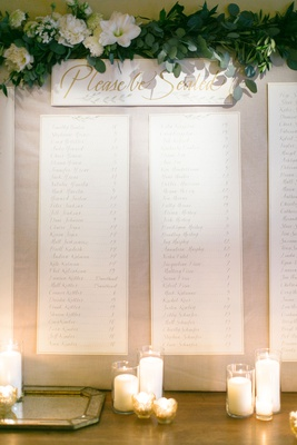 please be seated sign with garland greenery seating chart alphabetical order banner candles