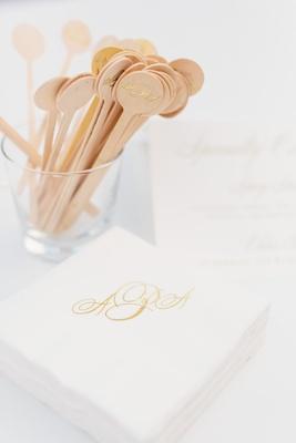 Wedding drink cocktail napkins and wood drink stirrer with gold monogram gold foil