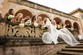 bride's veil billowing while she and bridesmaids lean over railing