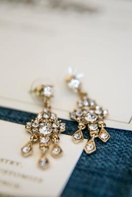 Wedding jewelry bride's gold chandelier earrings yellow gold diamonds crystals