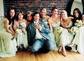 Celadon bridesmaid gowns and flowers