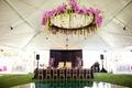 Floral structure above dance floor
