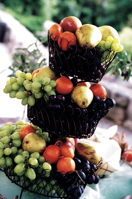 Wrought iron fruit basket with grape, pear, and orange