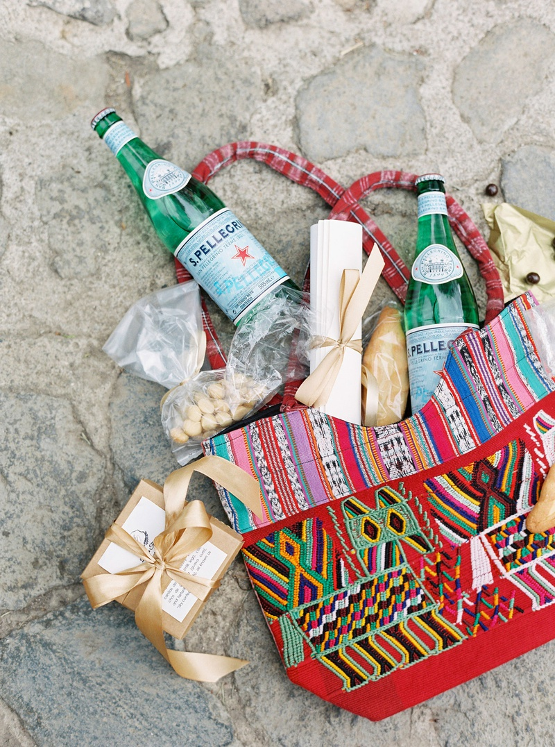 colorful wedding welcome bag for destination wedding in guatemala antigua sparkling water local