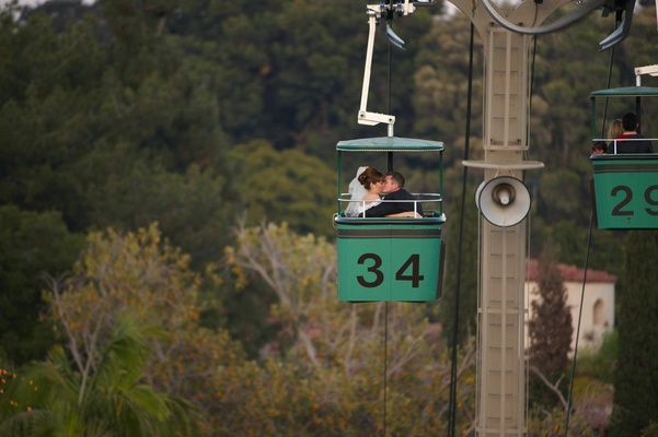 Bride and groom on San Diego Zoo Skyfari gondola lift