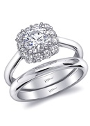 Romance collection classic ring with diamond halo