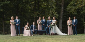 wedding party bride and groom with dog bridesmaids in light pink dresses jenny yoo groomsmen