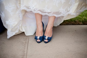 Something blue bow heels with crystal brooch