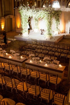 Orthodox Jewish wedding ceremony at the Terrace Room of The Plaza with gold chiavari chairs