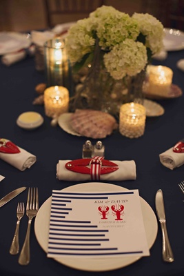 Blue striped rehearsal dinner menu with lobster design