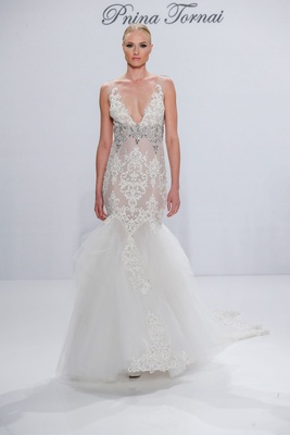 Pnina Tornai for Kleinfeld 2017 Dimensions Collection v neck mermaid wedding dress with embroidery