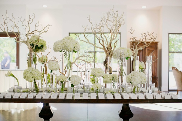 escort card table with manzanita branches, white flowers, hydrangea