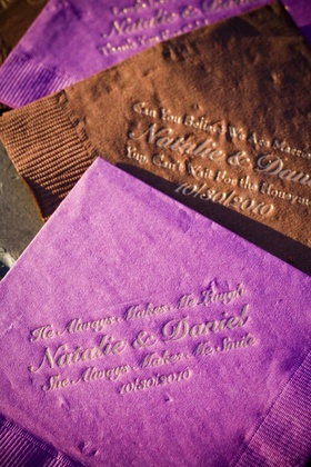 Personalized wedding napkins with couple quotes