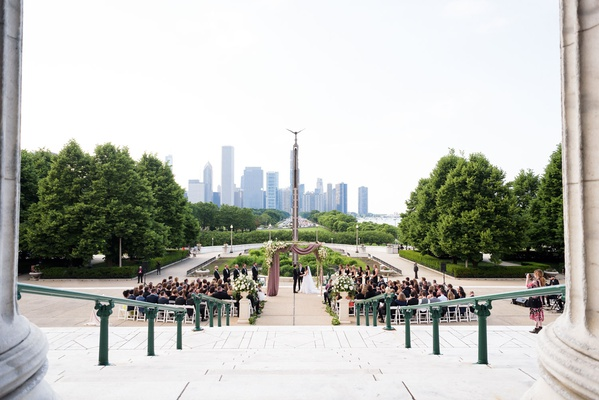chicago wedding the field museum ceremony in front of steps chicago skyline