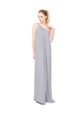 Joanna August Eleanor one shoulder long bridesmaid dress with asymmetrical twist rope strap