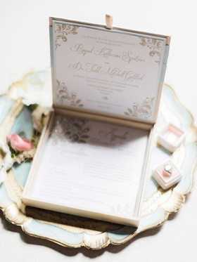 Victorian-inspired wedding invitation with box that opens up into invite