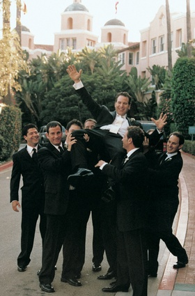 Groomsmen in front of The Beverly Hills Hotel