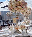 White drapery on outdoor patio wedding reception