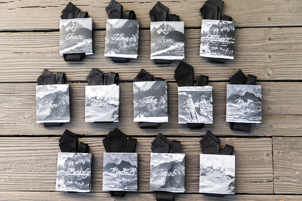 Black silk embroidered ties for groomsmen and father with black and white photo labels