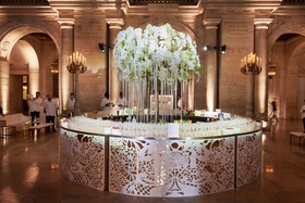 circle table laser cut details champagne and bar circular with ribbon orchid tree center