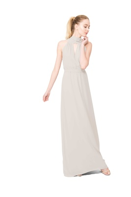 Joanna August Riggs long bridesmaid dress with high neck sleeveless in cream