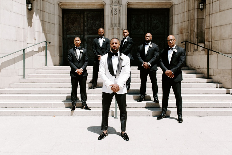 r&b singer Tank with groomsmen, jamie foxx and j. valentine, groom in white jacket