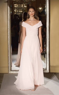 cd34fa631cc Oleg Cassini David s Bridal bridesmaid dress long skirt off shoulder gown  chiffon pink