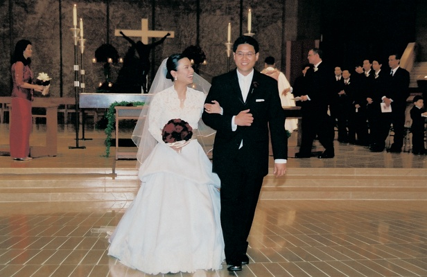 lea salonga wears monique lhuillier dress and walks with groom robert chien