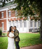 bride in stephen yearick wedding dress, groom in gold patterned jacket