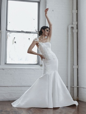 Isabelle Armstrong Fall 2018 bridal collection faille trumpet gown with floral appliques