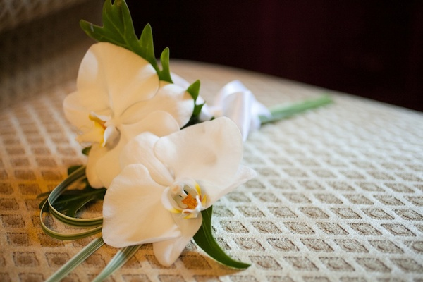 White phalaenopsis orchid bouquet for mother of bride