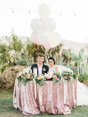 Megan Nicole youtube singer songwriter at sequin sweetheart table pink greenery flowers balloons