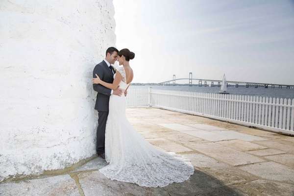 John Colaneri, co-host of Kitchen Cousins, and his bride in Newport, RI