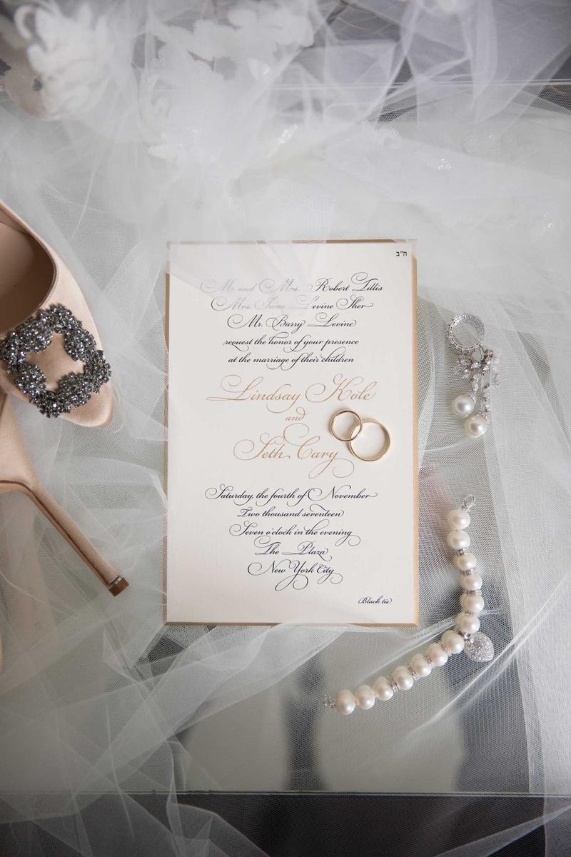 wedding invitation formal black tie gold black calligraphy gold morder pearls earrings wedding rings