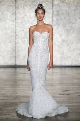 Inbal Dror Fall 2018 Strapless lace mermaid with lace and tulle train