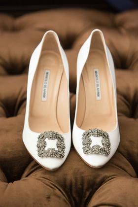 white heels metallic buckle manolo blahnik bridal wedding