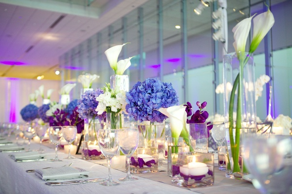 Modern purple blue white wedding at contemporary