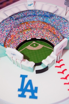 Groom's cake with sprinkles in shape of baseball stadium