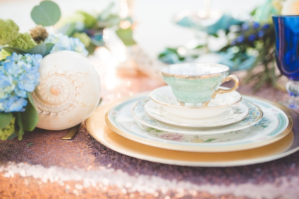painted china and shells for beach wedding