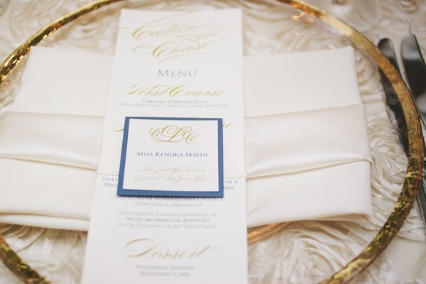 Wedding menu card and escort card with blue and gold details