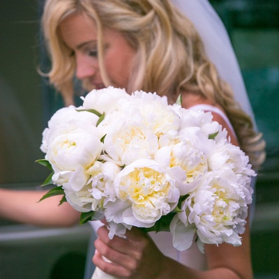 bridal bouquet with large white peonies