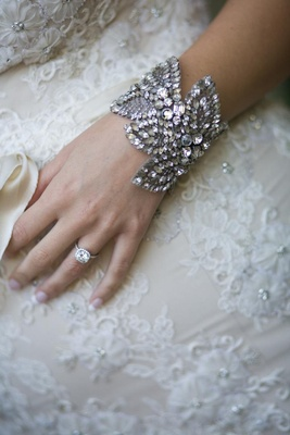 Jenny Packham bracelet with halo engagement ring