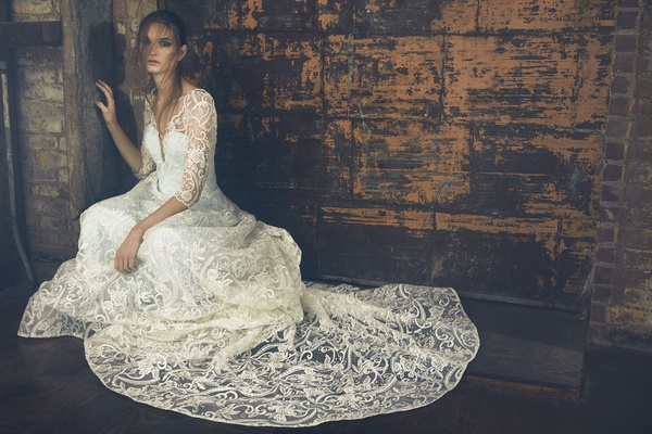Sareh Nouri Fall 2018 wedding dress Evita long three quarter sleeve lace gown cathedral train