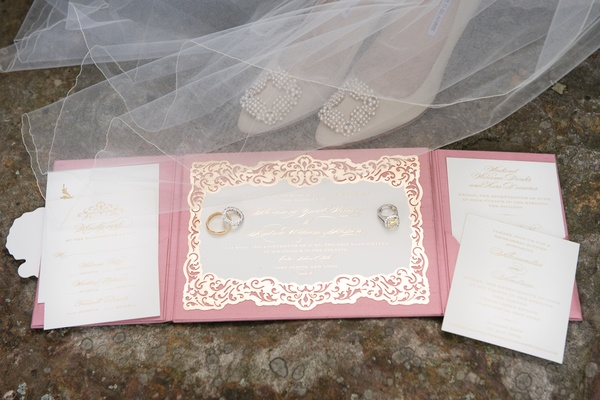tri-fold wedding invitation suite in dusty rose, cream, and gold